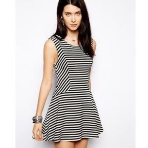 Free People Black White Striped Skater Dress